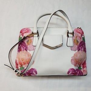 Calvin Klein saffiano white floral purse